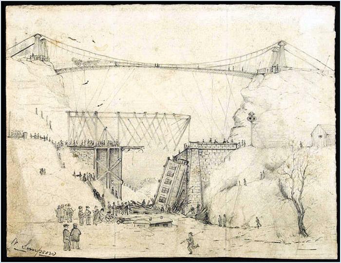 Figure 1: William Simpson, Railway accident on the Desjardins Canal drawbridge