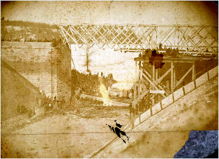 Figure 2: Attributed to Hardy Gregory, View of bridge disaster over Desjardins Canal, 12 March 1857