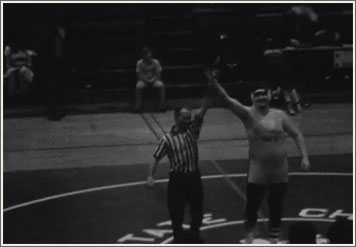 Still image from Championship, a short film by Stephen Broomer.
