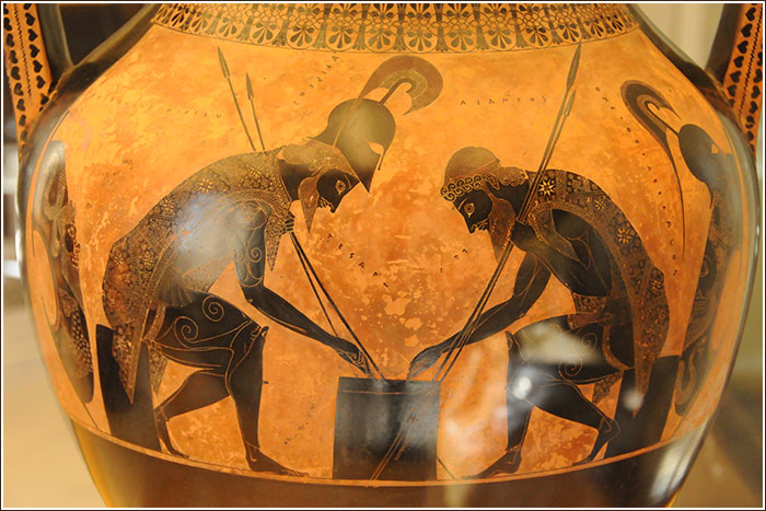 Attic amphora circa 530 BC by Exekias depicting Achilles and Ajax possibly playing knucklebones during the Trojan War. Current location: Museo Gregoriano Etrusco, Sala XIX; Vatican Museums. Photographer: Jakob BÂdagÂrd.
