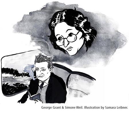 George Grant and Simone Weil, illustrated by Samara Leibner. www.SamaraLeibner.com