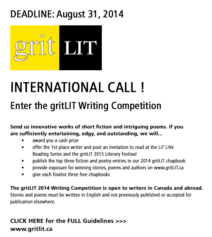 International CALL! GritLit Writing Competition DEADLINE: August 31, 2014