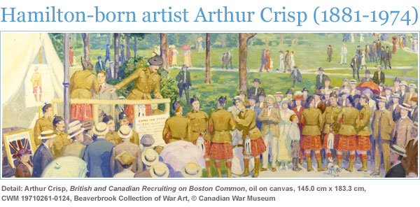 Detail: Arthur Crisp, British and Canadian Recruiting on Boston Common, oil on canvas, 145.0 cm x 183.3 cm, CWM 19710261-0124, Beaverbrook Collection of War Art, © Canadian War Museum