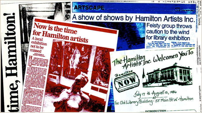 The phenomenally successful 1986 NOW show was organized through the Inc and open to all Hamilton area artists.