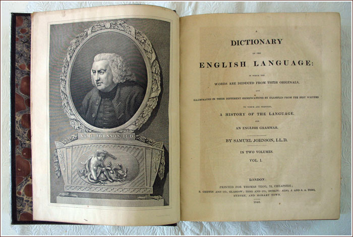 Figure 2: A Dictionary of the English Language, by Samuel Johnson LL.D., 1840