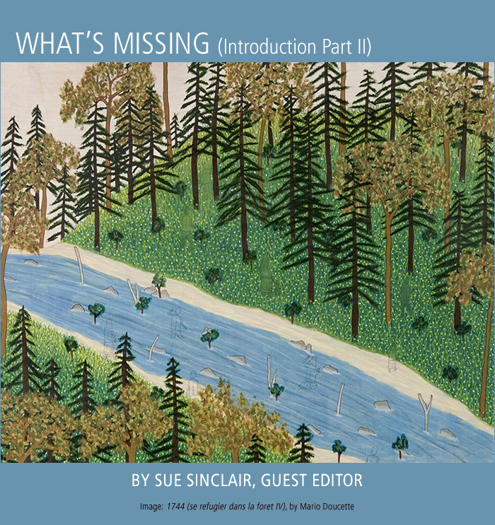 What's Missing (Introduction Part II) by Sue Sinclair. Artwork: Mario Doucette.