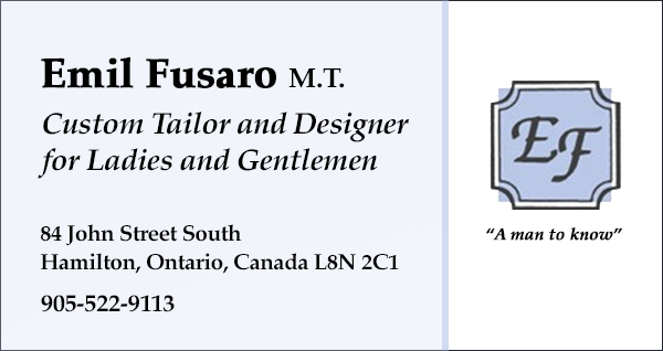 Emil Fusaro M.T. Custom Tailor and Designer