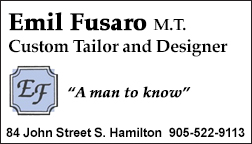 Emil Fusaro M.T. Custom Tailor and Designer for Ladies and Gentlemen, Hamilton.