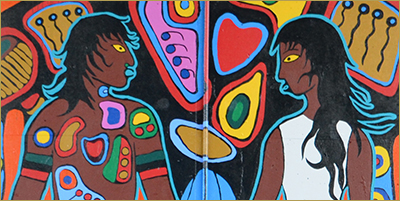 Portfolio: Murals by Philip Cote • Image detail: Man, Woman, Thunderbird. The Humber River Murals, by Philip Cote, Jarus, NS Kwest • Photograph by Nelly Torossian