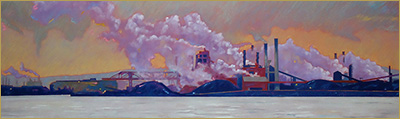 Pastel drawing of a factory in the rain seen from across the bay by Clarence Porter