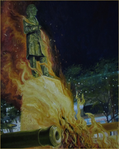 Portfolioby David Brace. Painting of a colonial Statue on Fire.