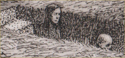 Five Covid Comics by Gord Pullar. Drawing of a girl and a skeleton walking into a grave