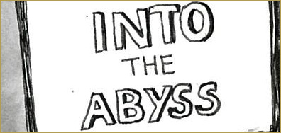 Comic: Signs of Covid-19 by Nicola Winstanley. Sketch of a trendy shop with the words: into the Abyss