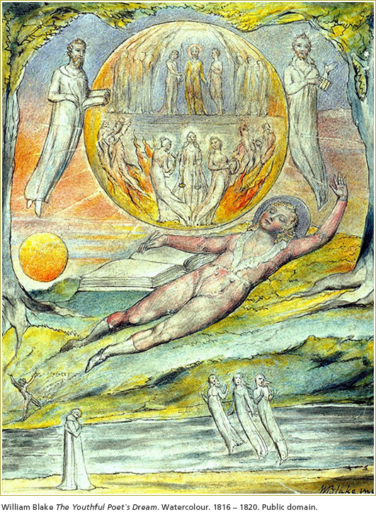 William Blake The Youthful Poet`s Dream. Watercolour. 1816 – 1820.