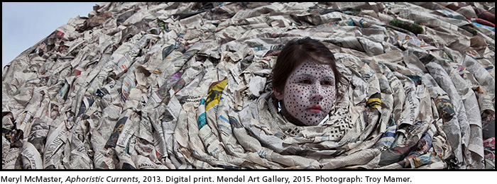 Meryl McMaster, Aphoristic Currents, 2013. Digital print. Mendel Art Gallery, 2015. Photograph: Troy Mamer.