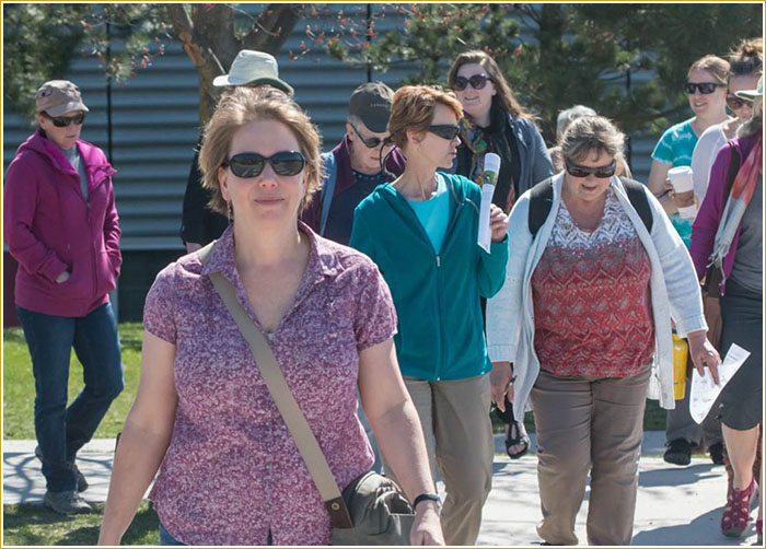 Dr. Elizabeth Elle leading a Citizen Science group on the UBC Okanagan campus, April 2016. Photograph: Dr. Robert Lalonde.