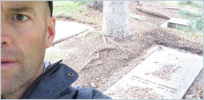 Matthew James Babcock at Hemingway's grave site.