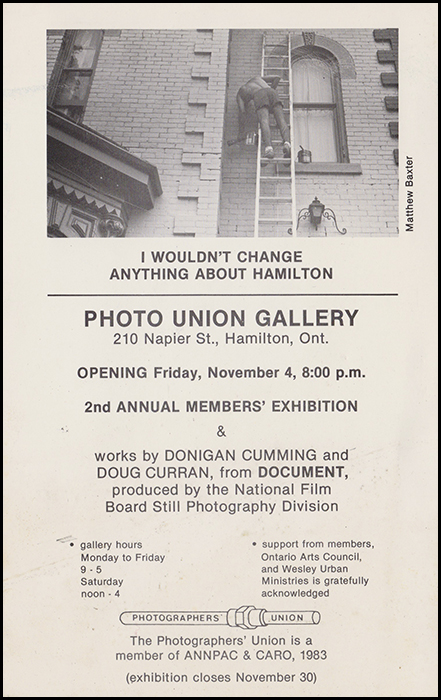 Invitation for I Wouldn't Change Anything about Hamilton, the 2nd Annual Members' Exhibition, November 1983. Photo by Matthew Baxter.