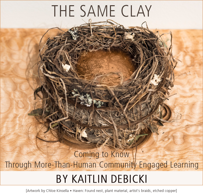 The Same Clay: Coming to Know Through More-Than-Human Community Engaged Learning by Kaitlin Debicki • Artwork detail: Haven by Chloe Kinsella