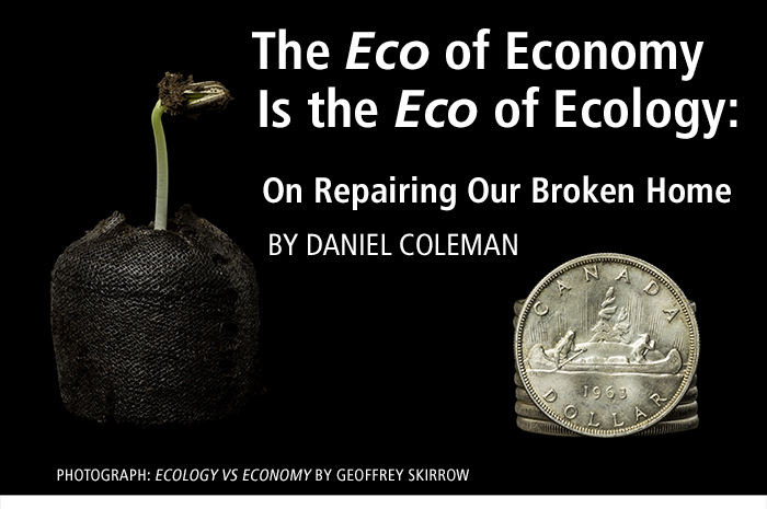 The Eco of Economy Is the Eco of Ecology:  On Repairing Our Broken Home by Daniel Coleman. Photo collage by Geoff Skirrow.