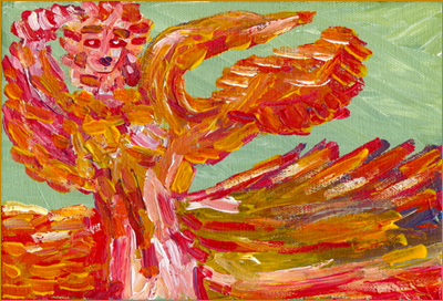 Abstract painting. Image: goddess carees on by bill bissett. A vibrant orange and gold figure with a face like a ceremonial mask holds a large bird in its arms. Links to an article by Dorothy Bakker.