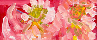 Abstract painting. Image detail: dayzees meeting by bill bissett. White flowers with yellowish centres on a bright red background. Links to an article by Sofia Ariza.