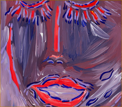Abstract painting. Image detail: suddn by bill bissett. Close-up portrait of human face dark in blue and purple with features emphasized in bright red outlines. Links to an article by sue Sinclair.