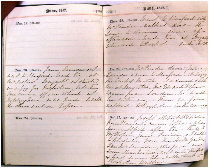 Figure 2:  Diary entry for June 26, 1857, when she meets Edward for the first time (author's photograph).