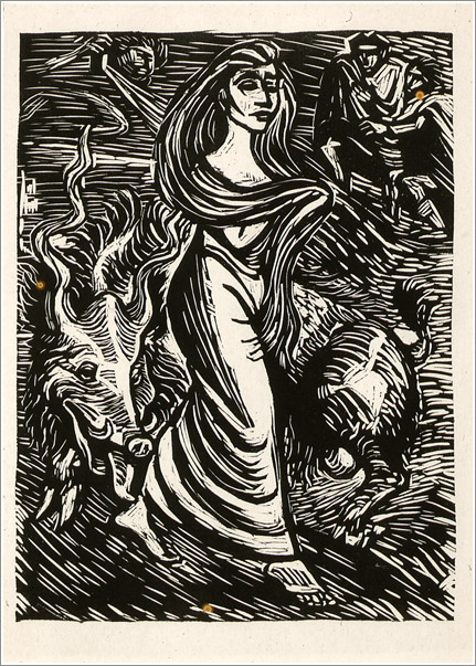 Fig. 1 Ernst BARLACH, German, 1870-1938 - Lilith, Adams Erste Frau / Lilith, Adam's First Wife, 1923 - Illustration no. 15 to Goethe's Walpurgisnacht