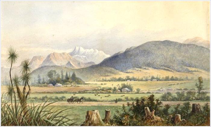 Figure 1: Attributed to Edward Roper, Motueka Valley near Nelson, South Island, New Zealand,  ca. 1889, watercolour, Rex Nan Kivell Collection, National Library of Australia.